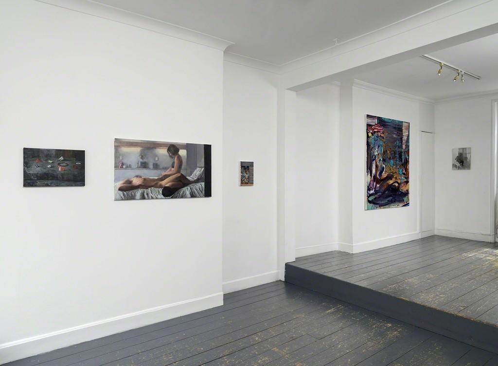 'Dark Smoke' installation view, works by Ioana Iacob, Dan Maciuca and Dan Beaudean.