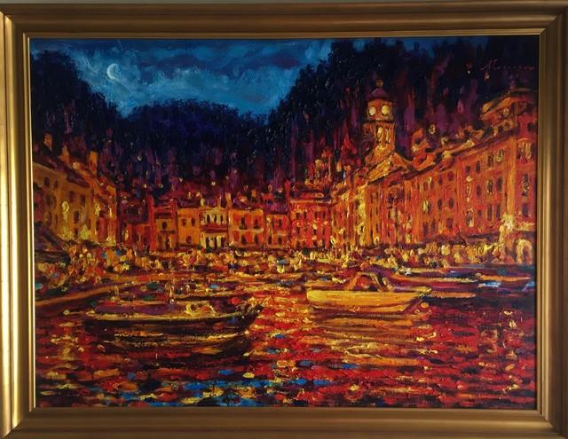 Alexander Evgrafov, 'Portofino Moonlight - Original oil on canvas painting by Alexander Evgrafov', 2014, Newport Brushstrokes Fine Art