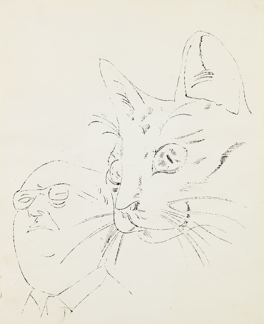 Andy Warhol, 'Portrait with Cat', 1956, Drawing, Collage or other Work on Paper, Ink on paper, Phillips