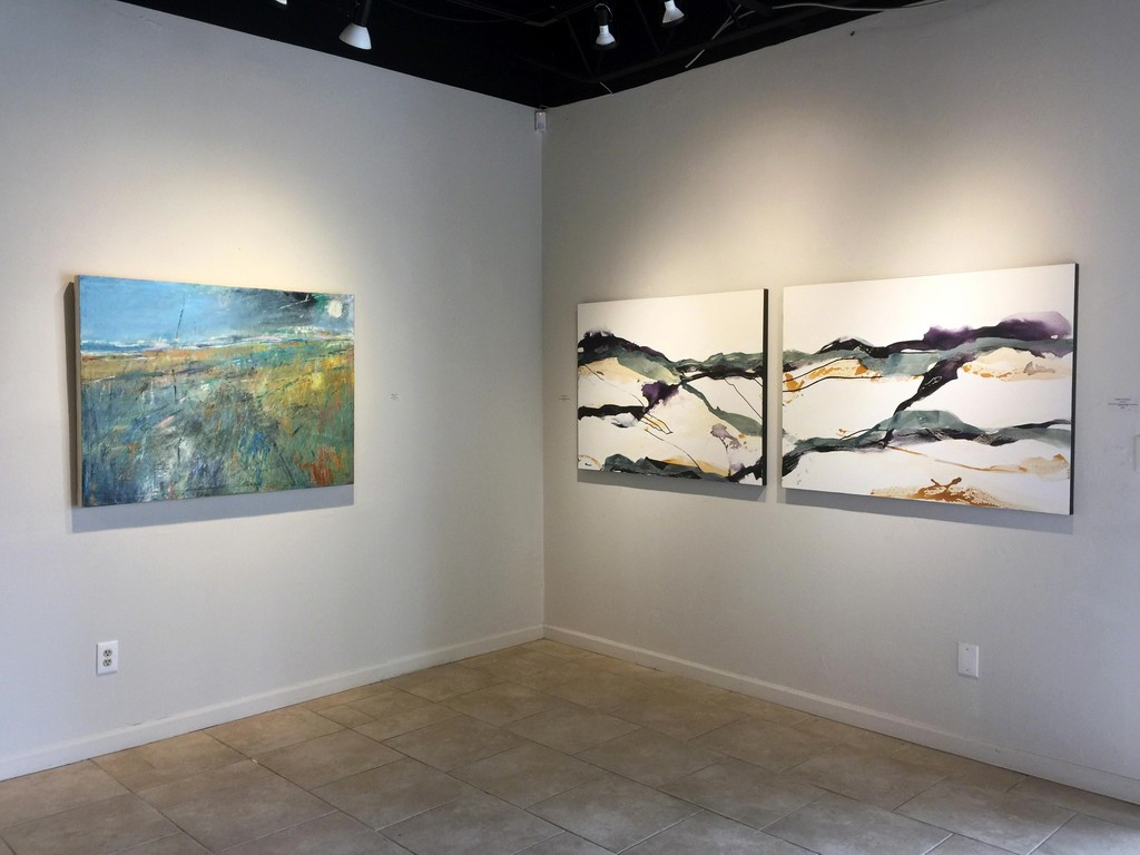 Signs of Spring exhibition, (L) Cathryn Miles, Seagrass 1, oil on linen, 36 x 48 inches; (R) Chris Dolan, Imaginary Landscape 2, & 3, mixed media on canvas, 36 x 48 inches, each