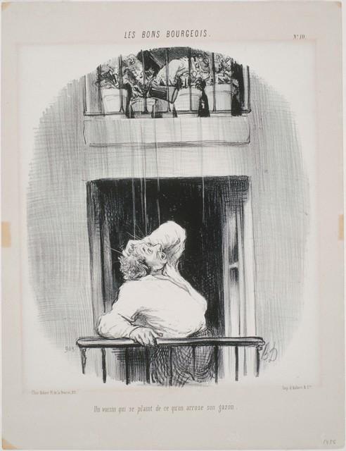 Honoré Daumier, 'Les Bons Bourgeois: Un voisin qui se plaint de ce qu'on arrose', 1846, Phillips Collection