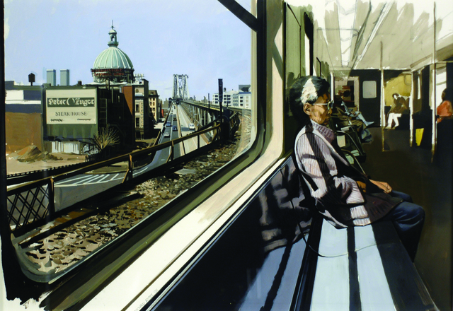 , 'M Train on Route to Manhattan Approaches the Williamsburg Bridge,' 1995, Louis K. Meisel Gallery