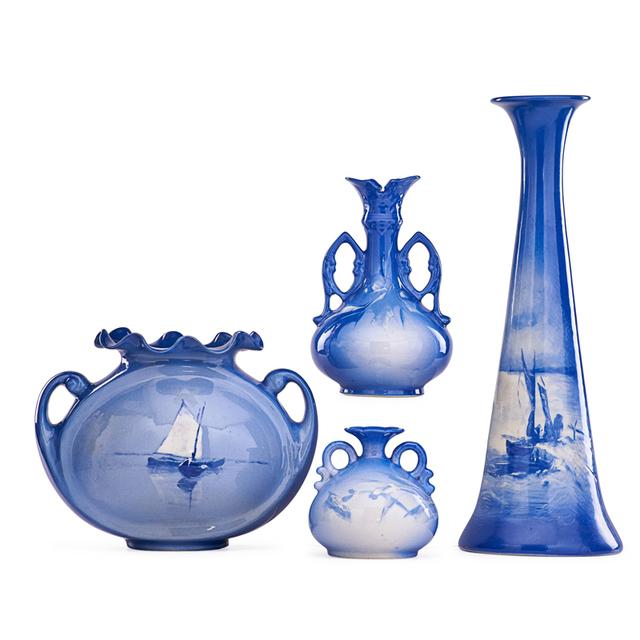 Roseville Pottery, 'Four Azurean Vases, Zanesville, OH', 1902, Rago/Wright