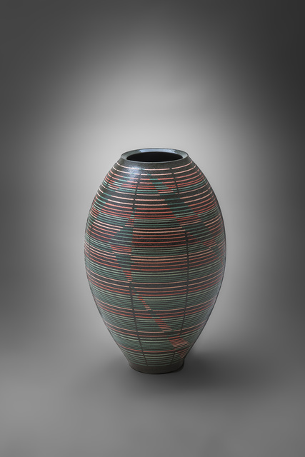 Maeda Hideo, 'Flower Vessel with Geometric Patterns 11', 2015, Design/Decorative Art, Stoneware with inlay, Onishi Gallery