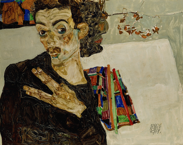 Egon Schiele, 'Selbstportrait mit gespreizten Fingern (Self-Portrait with Spread Fingers),' 1911, Erich Lessing Culture and Fine Arts Archive