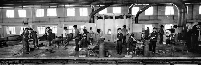 , 'Workers in the Number 1 Glass Factory in Pyongyang,' 2001, Museum of Contemporary Photography (MoCP)