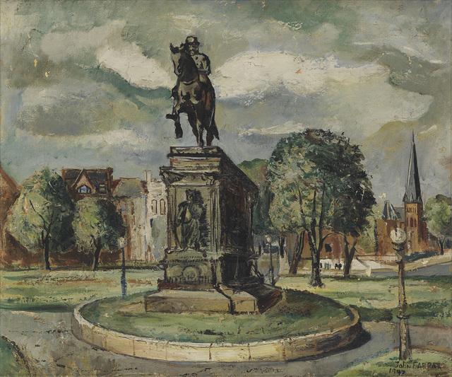 John Farrar, 'Untitled (Washington Circle).', 1947, Painting, Oil on linen canvas, Swann Auction Galleries