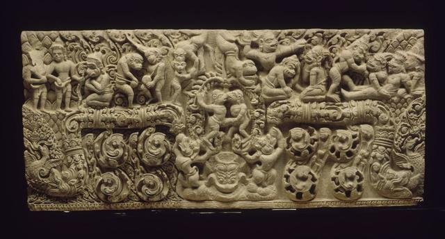 , 'Scenes from Ramayana: the fight of Valin and Sugriva,' 11th century, Musée national des arts asiatiques - Guimet
