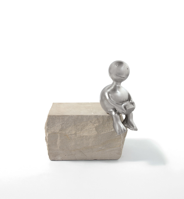 Tom Otterness, 'Sphere Holding Cube', 2014, Sculpture, Stainless steel and limestone, Phillips