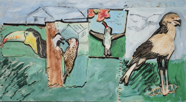 , 'Toucan, Woodpecker, Humming, Secretary Birds,' 1990, 101/EXHIBIT