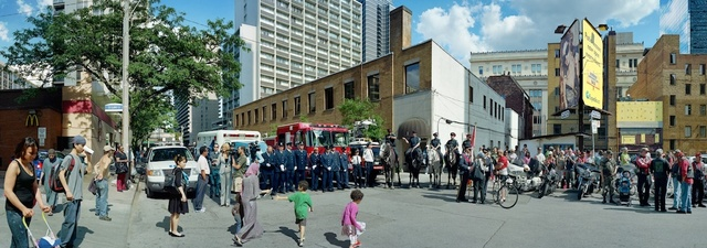 , ' Corner of the Courageous, Repatriation Ceremony for Master Corporal Kristal and Private Andrew Miller, Grenville St., Toronto, Ontario, June 28, 2010,' 2011, Arsenal Contemporary