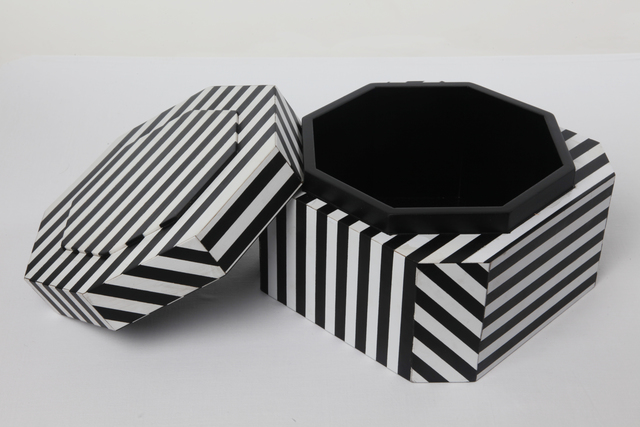 "Oeuffice, '""Ziggurat Tower"" set of stacking boxes, Black Stripes edition', 2012, Carwan Gallery"