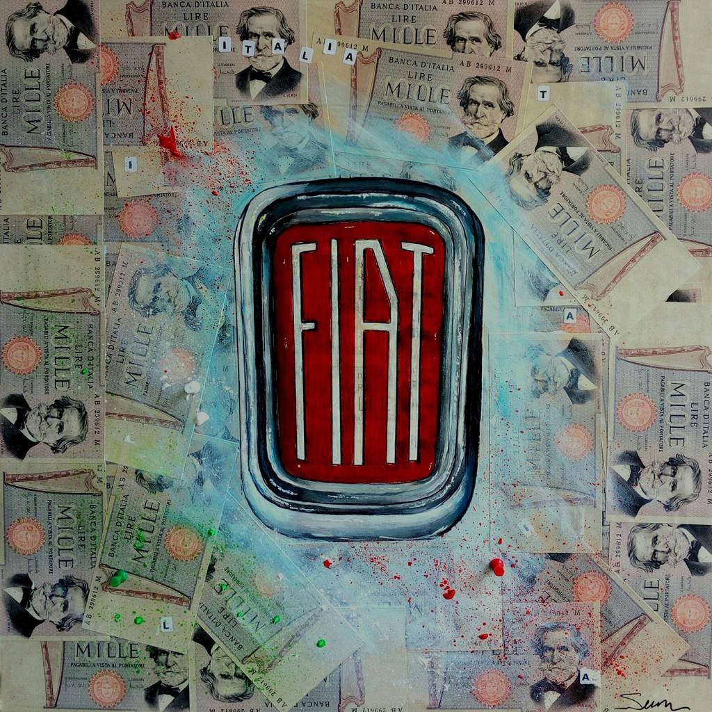 Francesco Senise, 2018 - FIAT ITALIA - Mixed on canvas cm 50 x 50