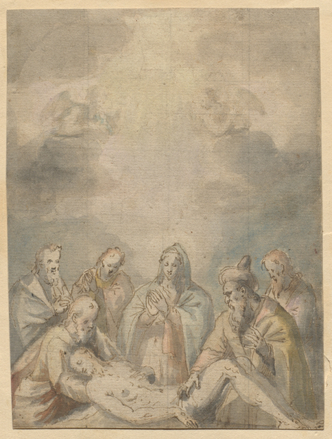 Polidoro Lanzani, 'Lamentation', 16th century, Drawing, Collage or other Work on Paper, Pen and brown ink and colored washes on paper; squared for transfer, Avery Library