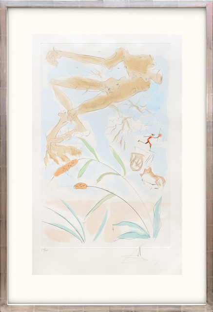 Salvador Dalí, 'La Chéne et le Roseeau. (The Oak and the Reed.)', 1974, Print, Drypoint etching on Arches paper with hand colouring by pochoir, Peter Harrington Gallery