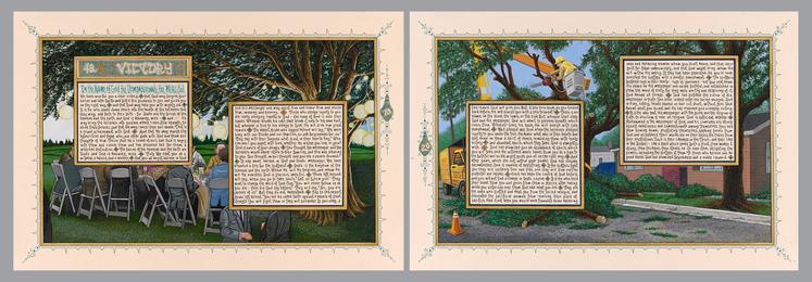 Sandow Birk, 'American Qur'an: Sura 48 A-B, diptych,' 2013, Koplin Del Rio