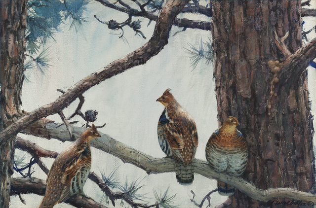 , 'Three Grouse on a Hard Pine,' , Questroyal Fine Art