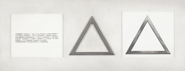 , 'Formalizing their concept: Joseph Kosuth's 'One and three triangles, 1965',' 2014, Galería Cayón