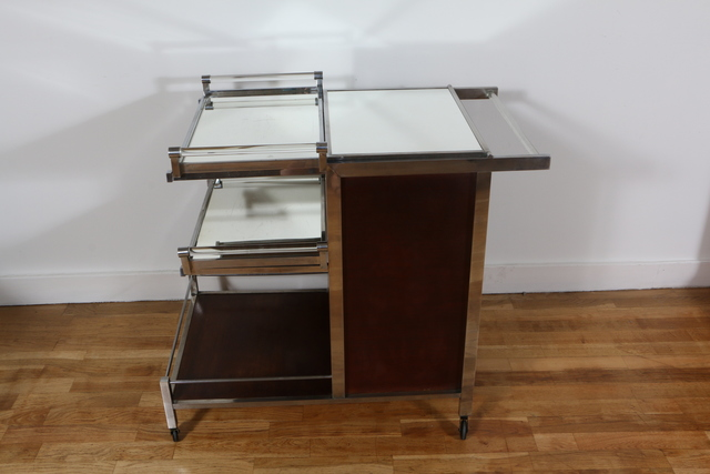 Jacques Adnet, 'Original bar cart, by Jacques Adnet', ca. 1935, Design/Decorative Art, Mahogany, nickel plated metal, mirrors, glass, Avant-Garde Gallery