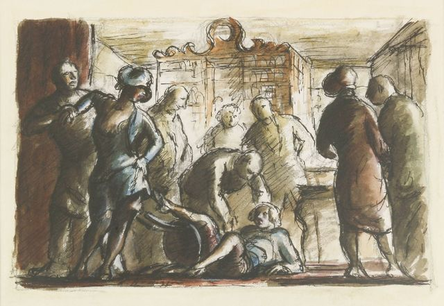 Edward Ardizzone, 'Barmaids Old and New; Girls Fighting at the Washington', 1939/1980, Print, Two lithographs printed in colours, Sworders