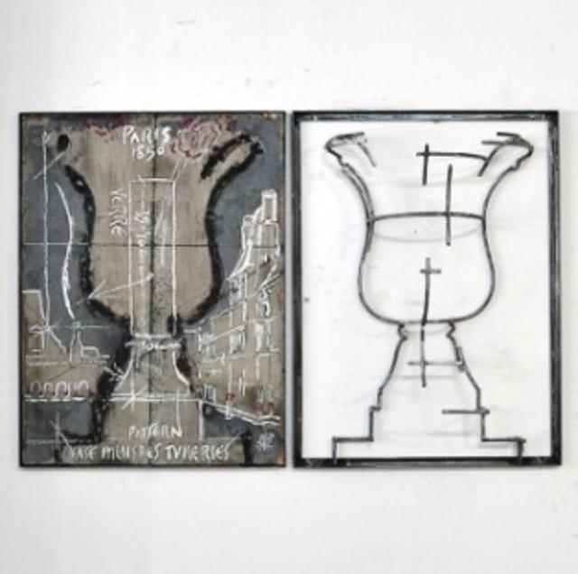 Juan Garaizabal, 'Wall Pattern Vase desTuileries  I', 2014, Sculpture, Steel, concrete and wood, Bogena Galerie