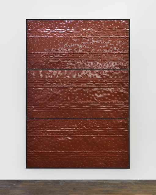 , 'Extrait (tôle,choc) les rêves individuels et les événements de la vie matérielle et sociale, fragment rouge,' 2017, Galerie Thomas Bernard