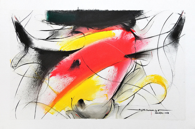 Sujth Kumar G.S. Mandya, 'Bull Painting - 686', 2018, MayinArt