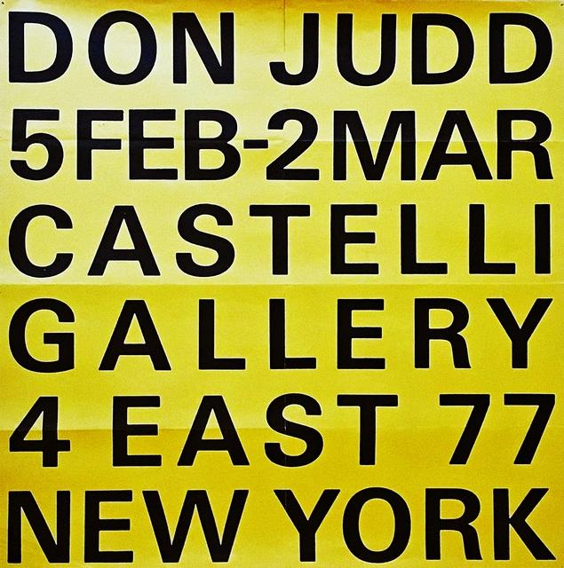 , 'Don Judd Castelli Gallery ,' 1966, Alpha 137 Gallery