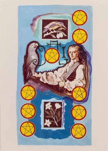 Salvador Dalí, 'Neuf de pentacles, arcane mineur, projet pour le jeu de carte Le Tarot Universel de Salvador Dalí', 1971, Gouache, pen and black ink on photo collage, Forum Auctions