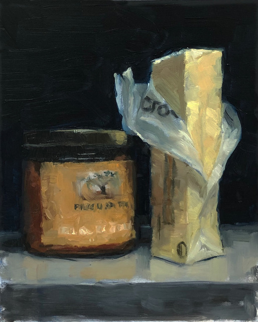 Tom Giesler, 'Study of partners: top shelf fridge #2', 2019, Painting, Oil on panel, McVarish Gallery