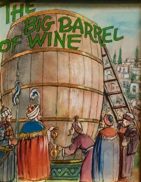 Zalman Kleinman, 'Barrel of Wine, Original Watercolor and Ink Illustration Important Chabad Artist', 1980-1989, Drawing, Collage or other Work on Paper, Ink, Watercolor, Lions Gallery