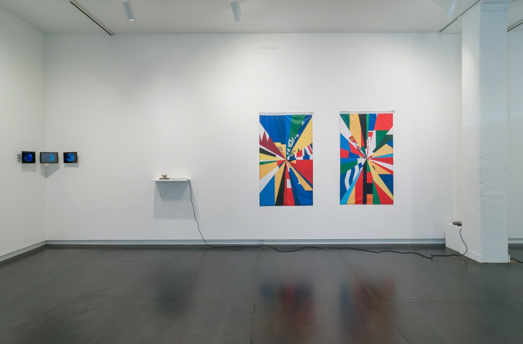 Left to right: triptych by Zach Blas; installation by Brian House; flags by James Bridle