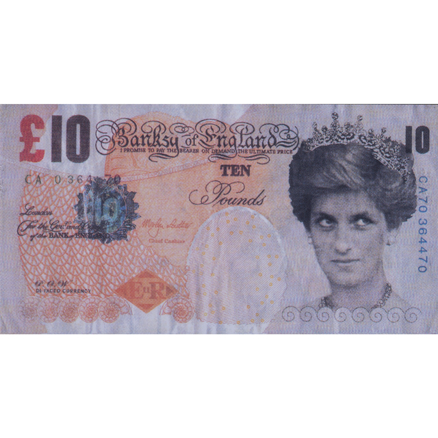 Banksy, 'Difaced tenner', 2004, Print, 10 Pound ticket illustrated with a colored stencil on both sides, all margins, full page, PIASA