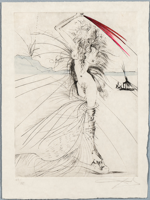 Salvador Dalí, 'Les aigrettes from the suite La Venus aux Fourrures', 1968-69, Print, Drypoint and engraving with hand-coloring on Japan paper, Skinner