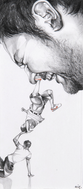 Andrew Ingram, 'Nose Picker', 2010, Drawing, Collage or other Work on Paper, Pencil and ink on paper, Tate Ward Auctions