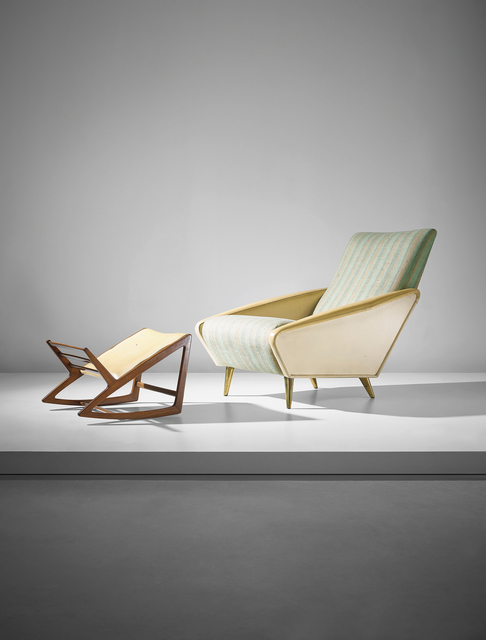 Gio Ponti, ''Distex' armchair, model no. 807, and rare footstool', ca. 1954, Design/Decorative Art, Stained walnut, original vinyl and fabric, brass, Phillips