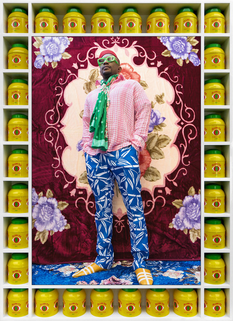 Hassan Hajjaj, 'Hank Willis Thomas', 2018/1440, Mixed Media, Metallic Lambda on 3mm Dibond in a Poplar Sprayed-White Frame with Yellow Jajjah Ginger Tea Tins with Green Top, Yossi Milo Gallery
