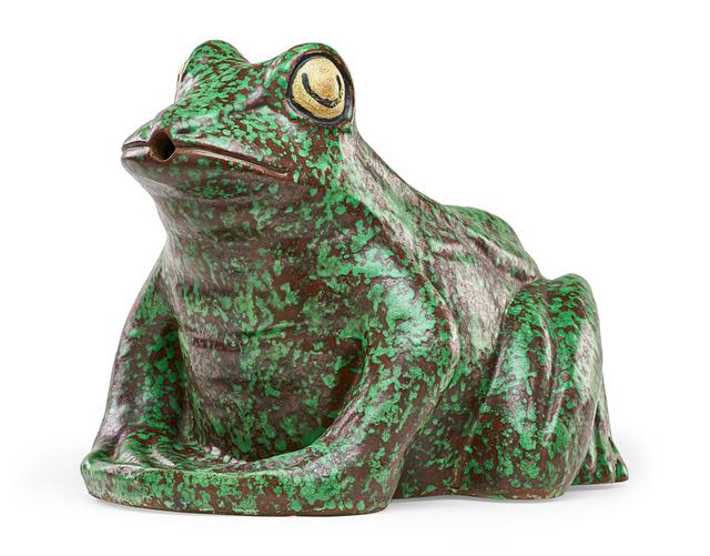 Weller Pottery, 'Rare large Coppertone Frog lawn ornament/fountain, Zanesville, OH', 1930s, Rago