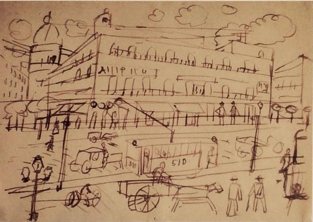 , 'Calle de ciudad con tranvías,' 1917, Galería de las Misiones