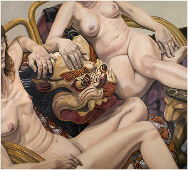 Philip Pearlstein, 'Two Models with Indonesian Mask', 2015, Betty Cuningham