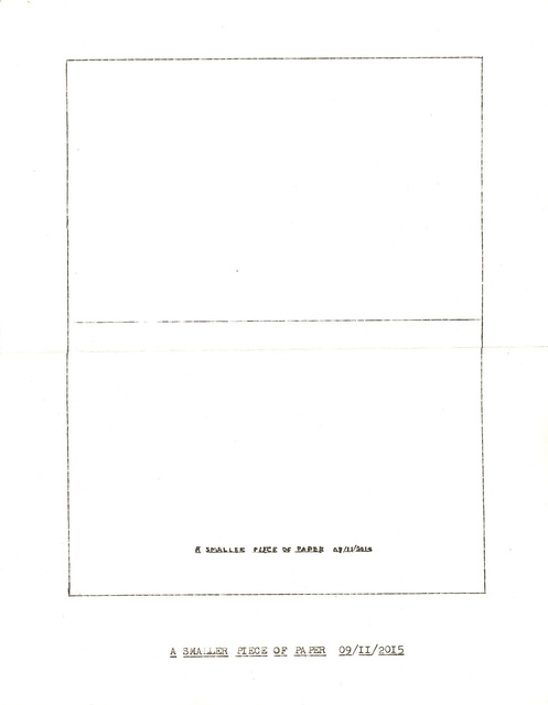 """, '""""A Smaller Piece of Paper"""" in the series """"Typewriter Drawings"""",' 2015, Catharine Clark Gallery"""