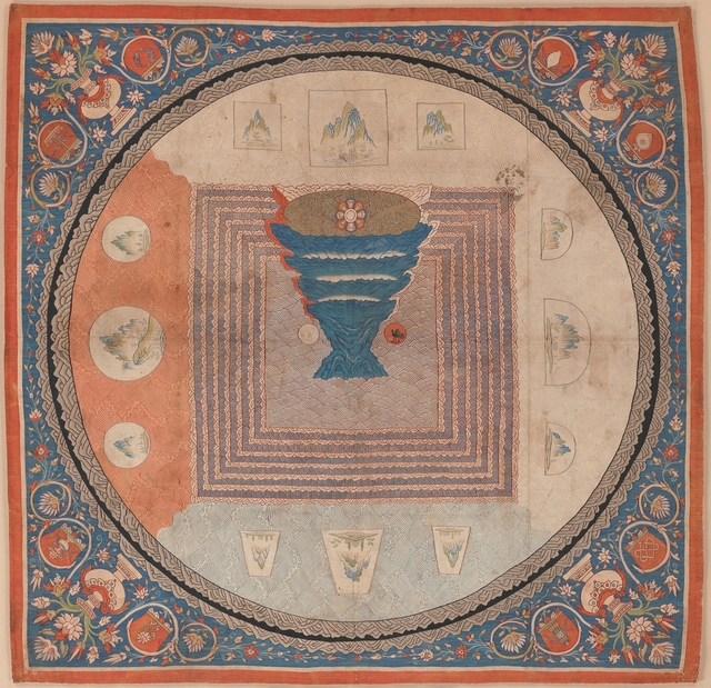 Unknown Chinese, 'Cosmological Mandala with Mount Meru (元 緙絲 須彌山曼陀羅)', 14th century, The Metropolitan Museum of Art