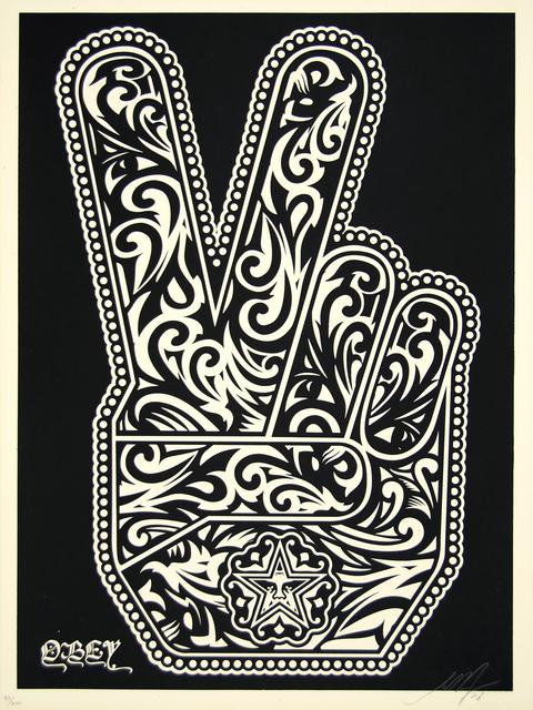 Shepard Fairey, 'Peace Fingers (Black)', 2006, Print, Screenprint on paper, Heather James Fine Art Gallery Auction