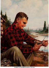 Setting the Trap, Outdoorsman magazine cover, November 1941