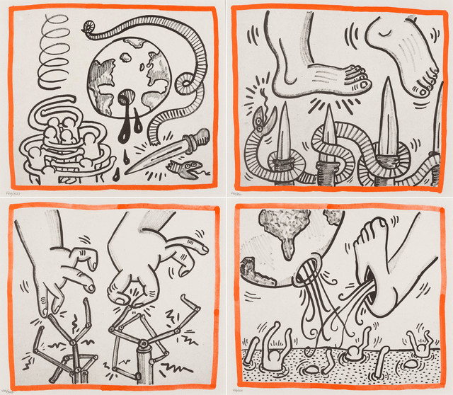 Keith Haring, 'Against All Odds, four plates', 1990, Forum Auctions