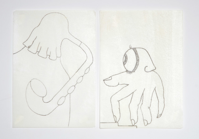 Eduardo Navarro, 'Metabolic Drawings' I, 2018 and Metabolic Drawings' III', 2018, Drawing, Collage or other Work on Paper, Edible sharpie on archival edible paper, Independent Curators International (ICI) Benefit Auction