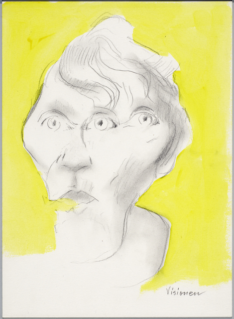 Maria Lassnig, 'Visionen', ca. 2002, Drawing, Collage or other Work on Paper, Pencil and acrylic on paper, Petzel Gallery