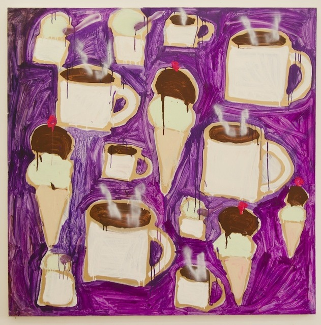 Katherine Bernhardt, 'Ice Cream (Chocolate and Pistachio) and Steaming Hot Coffee', 2013, IDEA