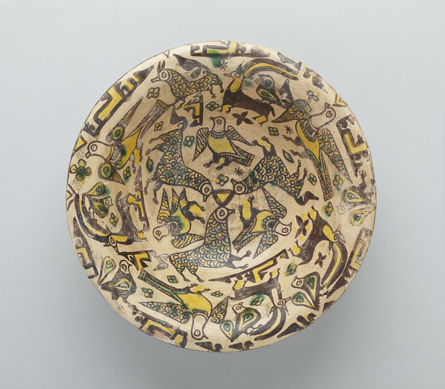 , 'Bowl with Birds, Ibex, Floral, Calligraphic and Geometric Motifs,' 9th -10th century, Newark Museum