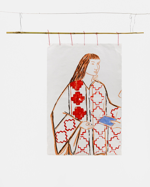 Cecilia Vicuña, 'Niña Mapuche', 1975-2021, Mixed Media, Edition Variée. Lithography with hand coloring (watercolor) on mulberry paper with bamboo and red thread, Lehmann Maupin